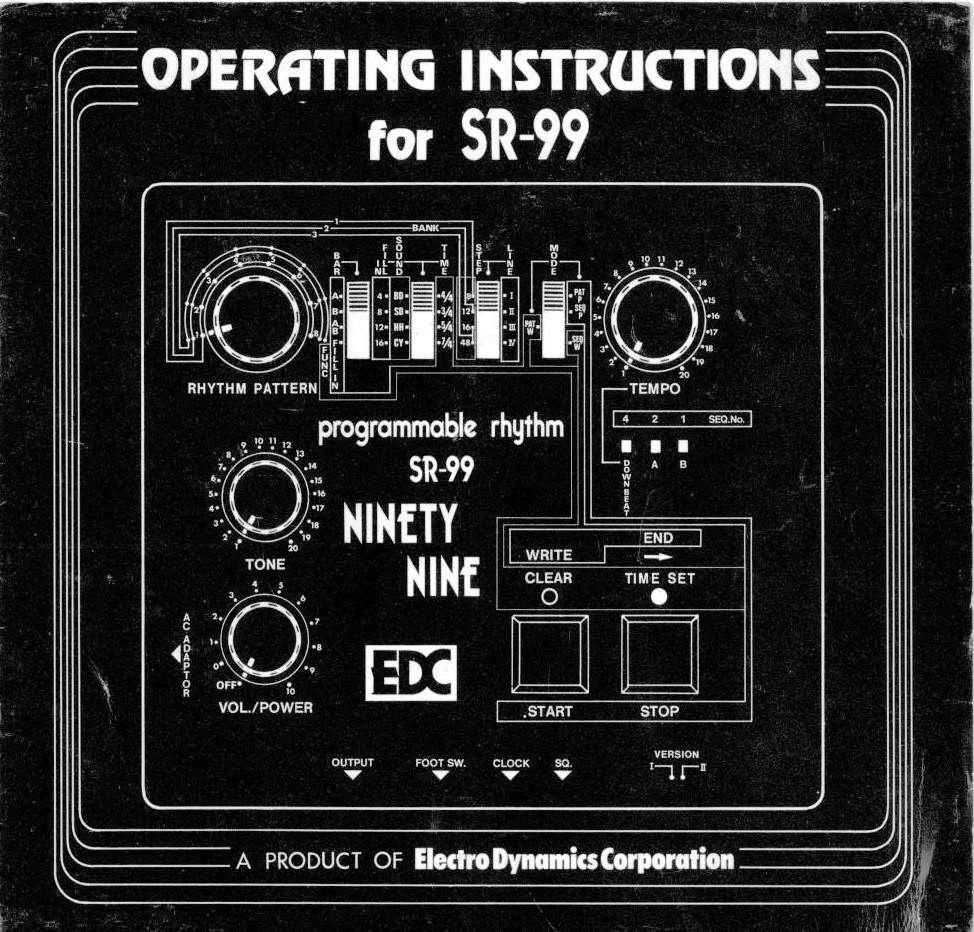 EDC SR-99 Drum Machine Operating Instructions