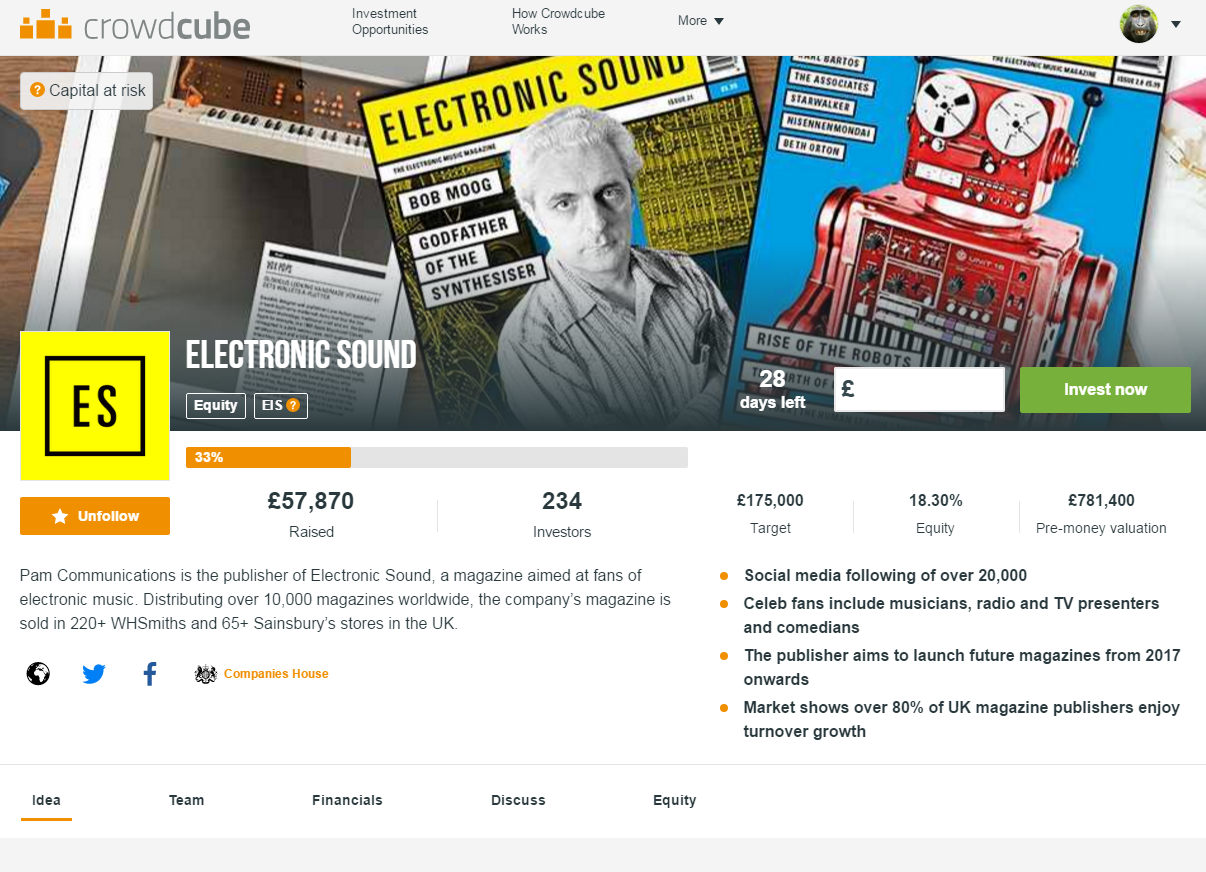 Electronic Sound Crowdcube